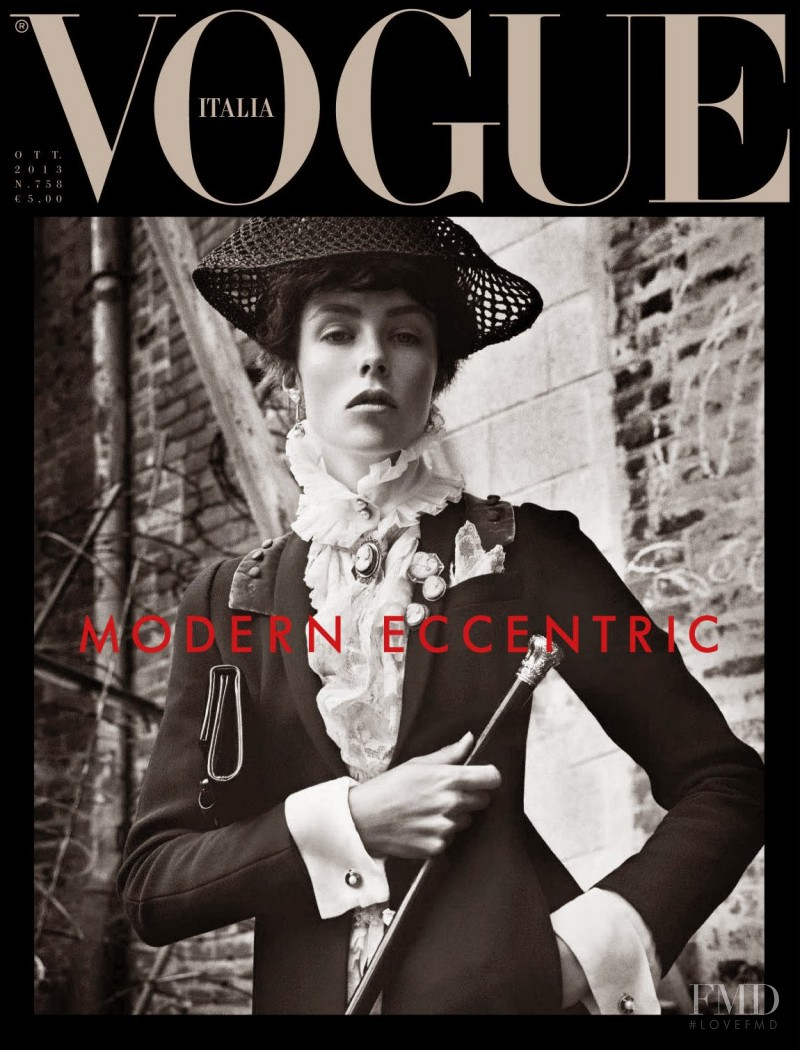 Edie Campbell featured on the Vogue Italy cover from October 2013