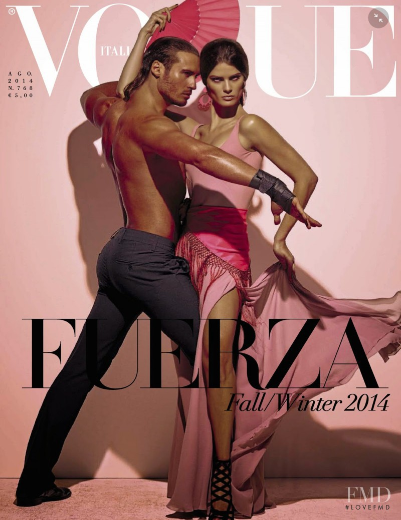 Isabeli Fontana featured on the Vogue Italy cover from August 2014