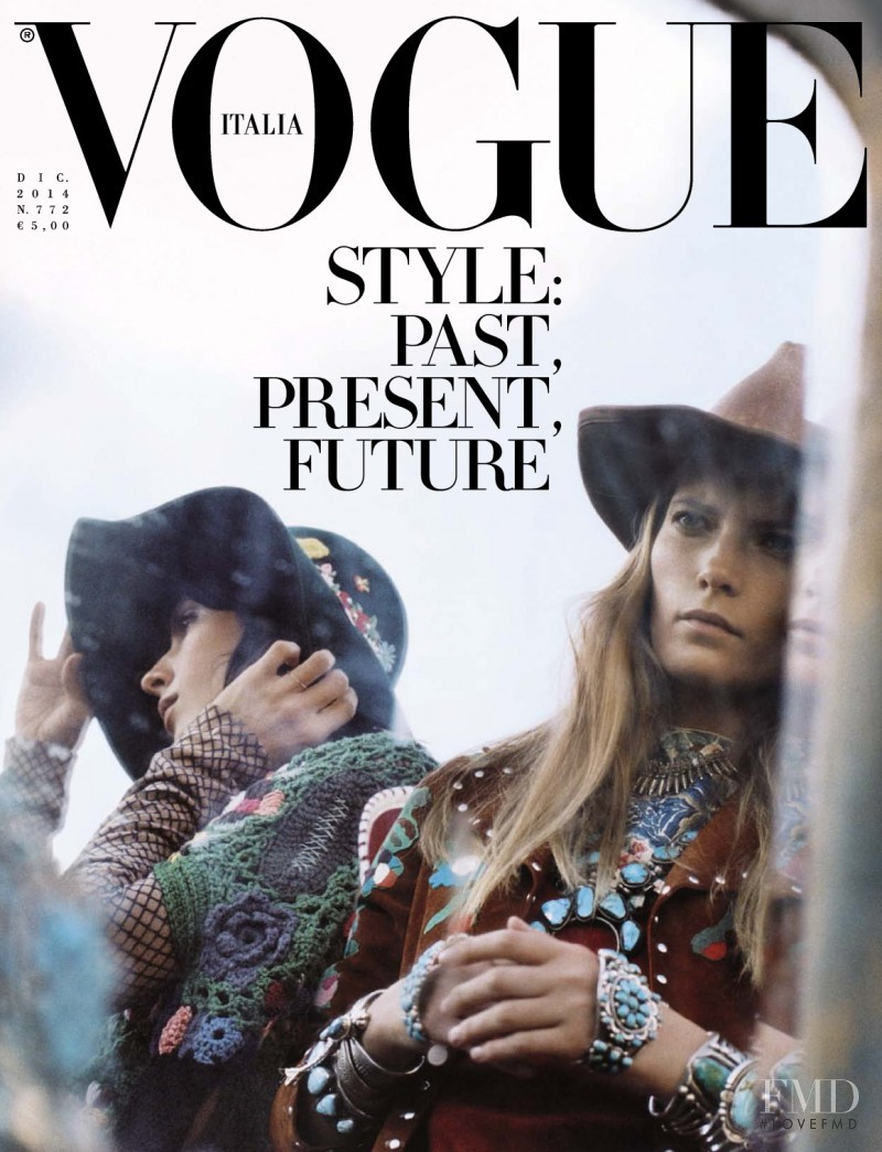 Jamie Bochert, Valery Kaufman featured on the Vogue Italy cover from December 2014
