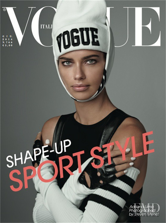 Adriana Lima featured on the Vogue Italy cover from June 2014