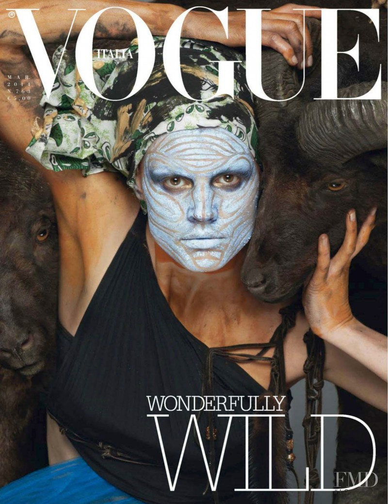 Saskia de Brauw featured on the Vogue Italy cover from March 2014