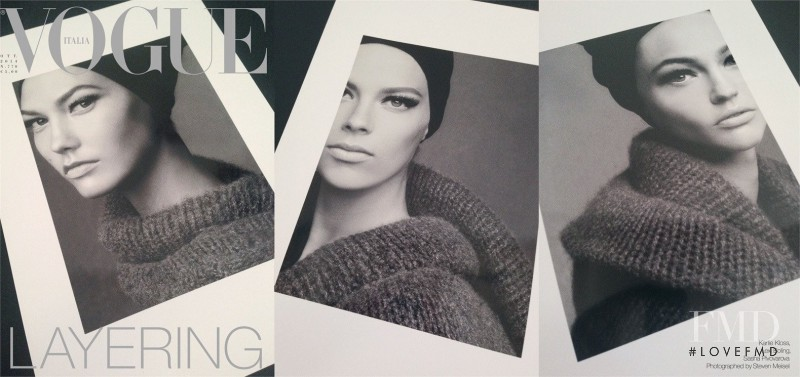 Sasha Pivovarova, Karlie Kloss, Lexi Boling featured on the Vogue Italy cover from October 2014