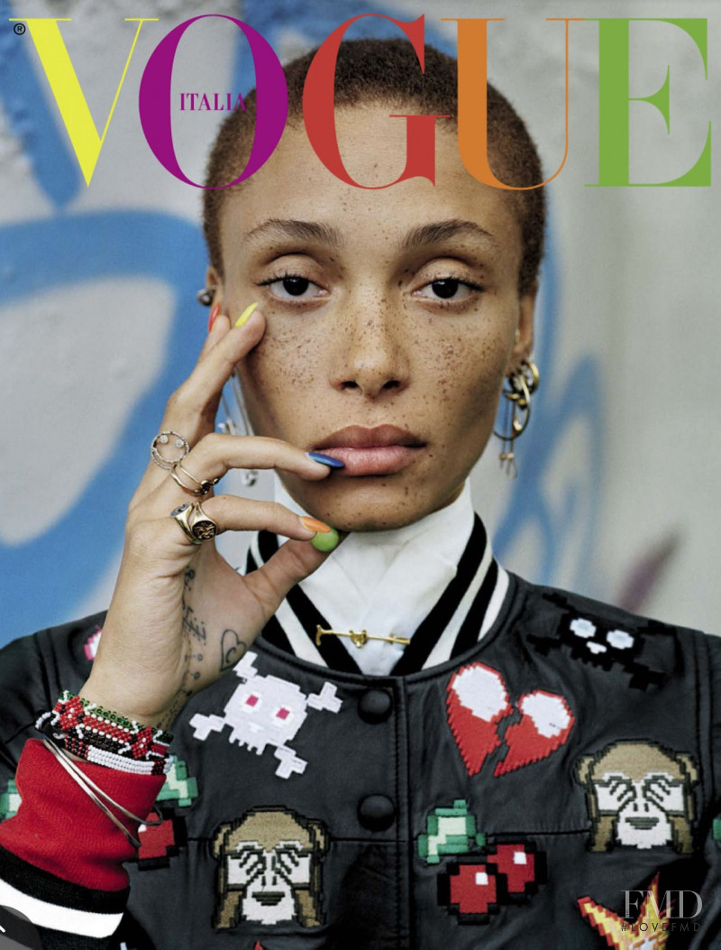 Adwoa Aboah featured on the Vogue Italy cover from December 2015