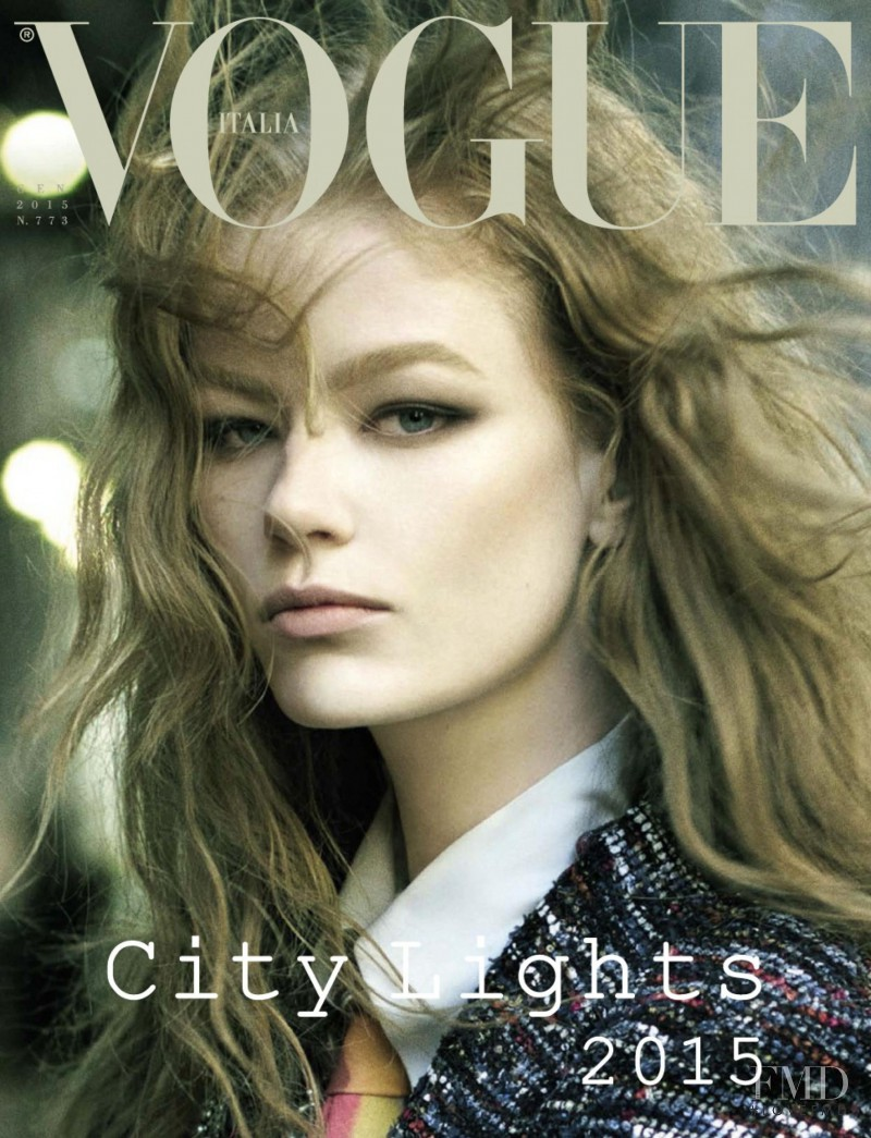 Hollie May Saker featured on the Vogue Italy cover from January 2015