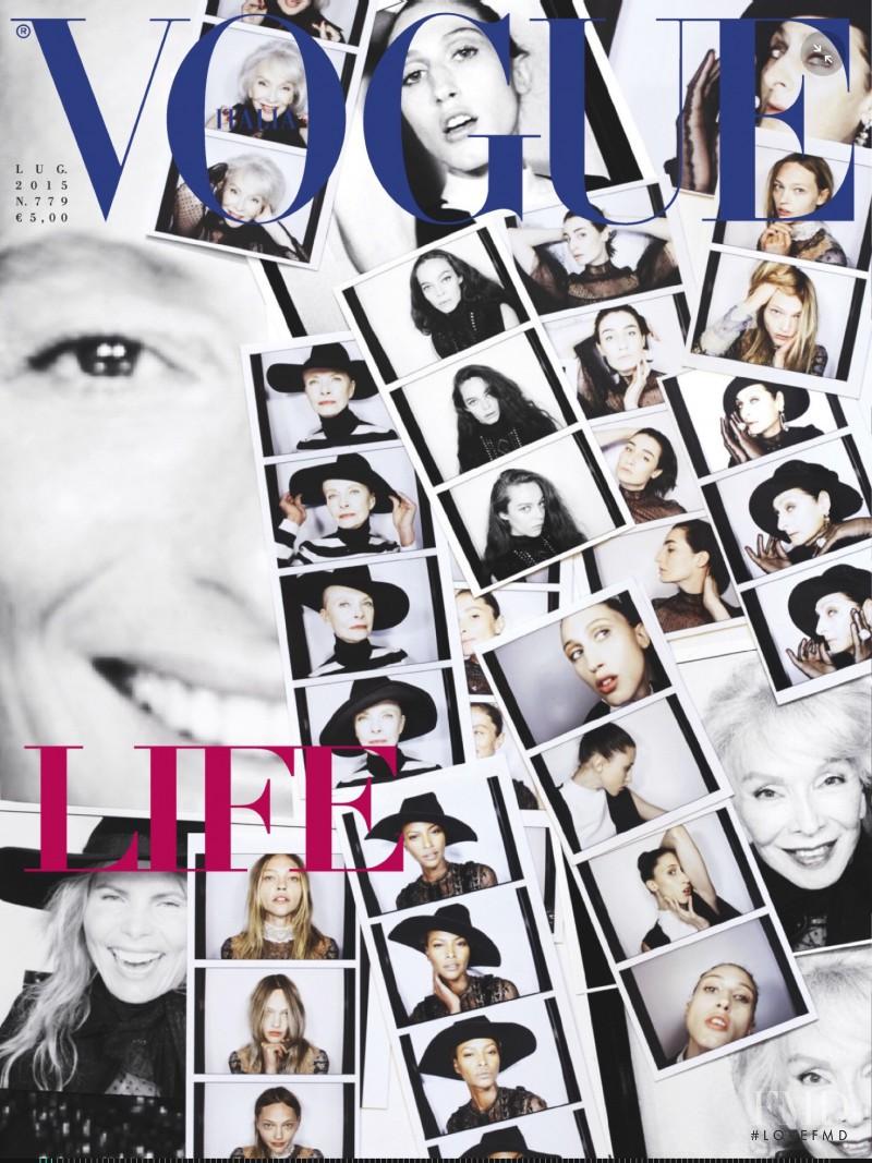 Frankie Rayder, Erin O Connor, Sasha Pivovarova, Anna Cleveland, Yasmin Wijnaldum featured on the Vogue Italy cover from July 2015