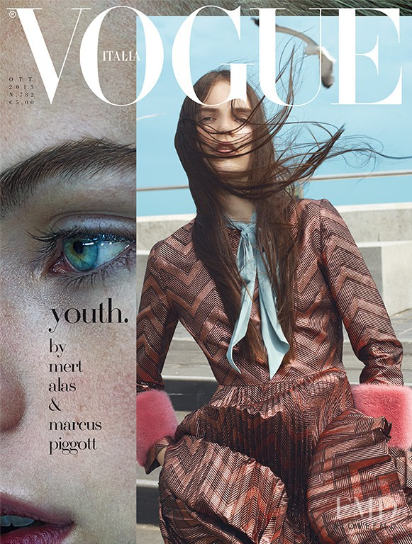 Lily Stewart, Estella Boersma featured on the Vogue Italy cover from October 2015