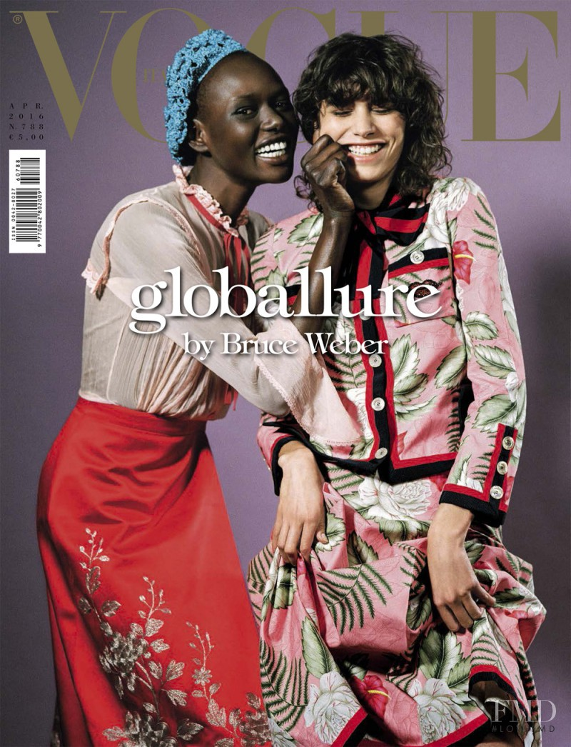 Ajak Deng, Mica Arganaraz featured on the Vogue Italy cover from April 2016