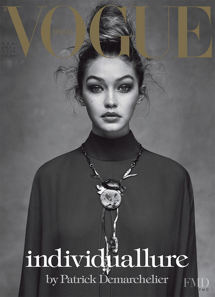 Gigi Hadid featured on the Vogue Italy cover from April 2016