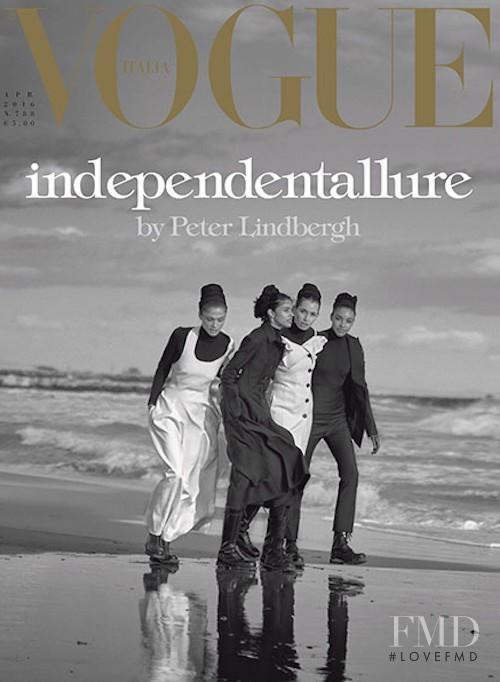 Kenza Fourati, Elisa Sednaoui, Pooja Mor featured on the Vogue Italy cover from April 2016