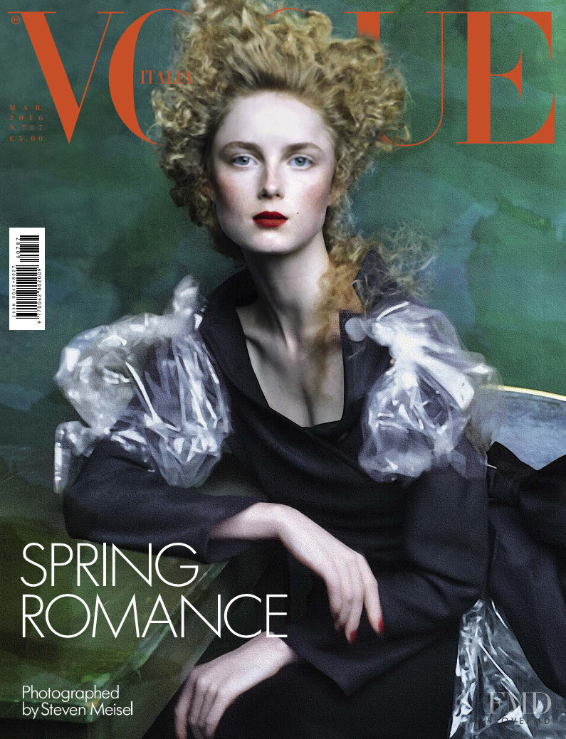Rianne Van Rompaey featured on the Vogue Italy cover from March 2016