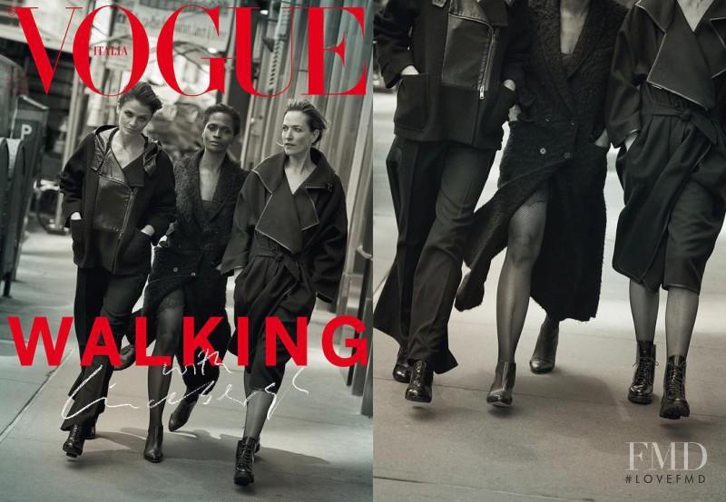 Helena Christensen, Tatjana Patitz, Karen Alexander featured on the Vogue Italy cover from October 2016