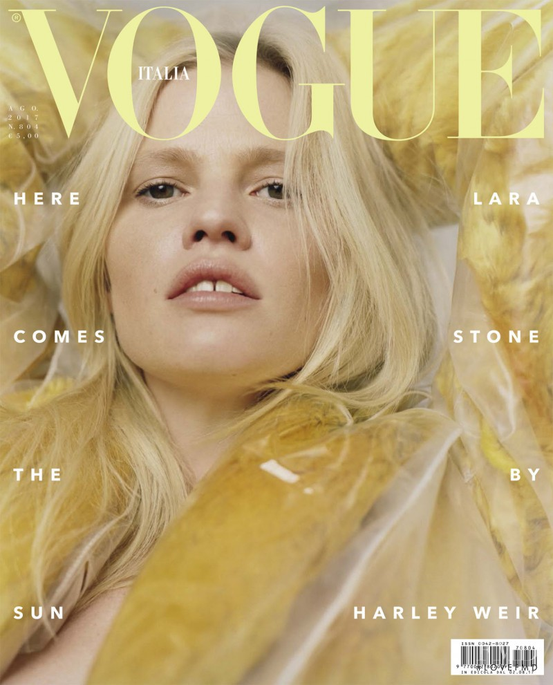 Lara Stone featured on the Vogue Italy cover from August 2017