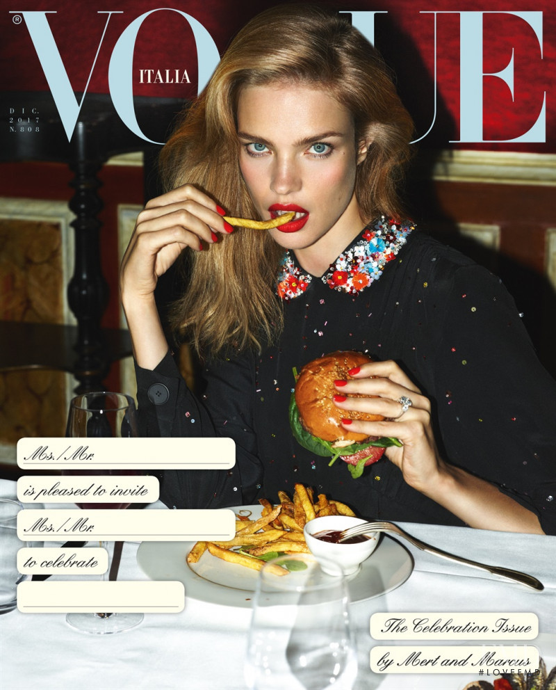 Natalia Vodianova featured on the Vogue Italy cover from December 2017