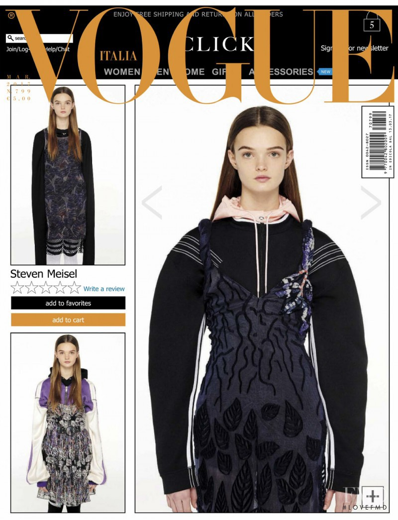 Lulu Tenney featured on the Vogue Italy cover from March 2017