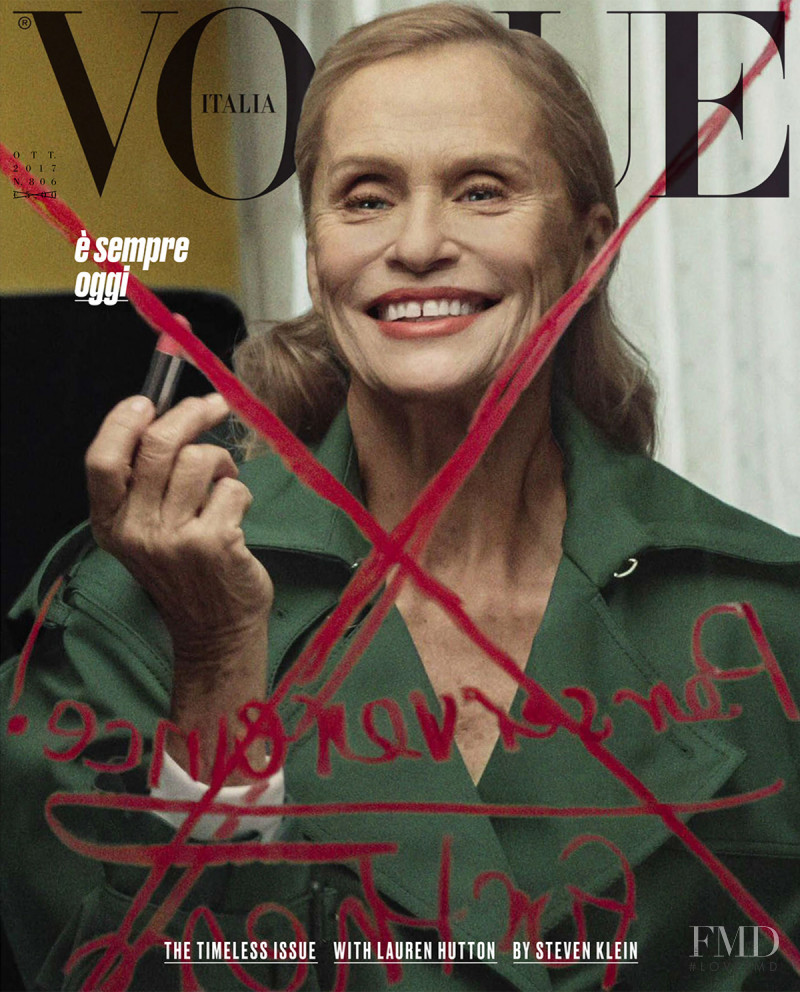 Lauren Hutton featured on the Vogue Italy cover from October 2017