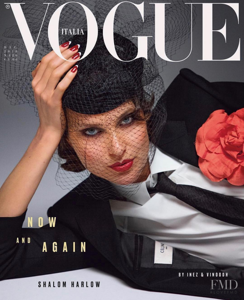 Shalom Harlow featured on the Vogue Italy cover from December 2018