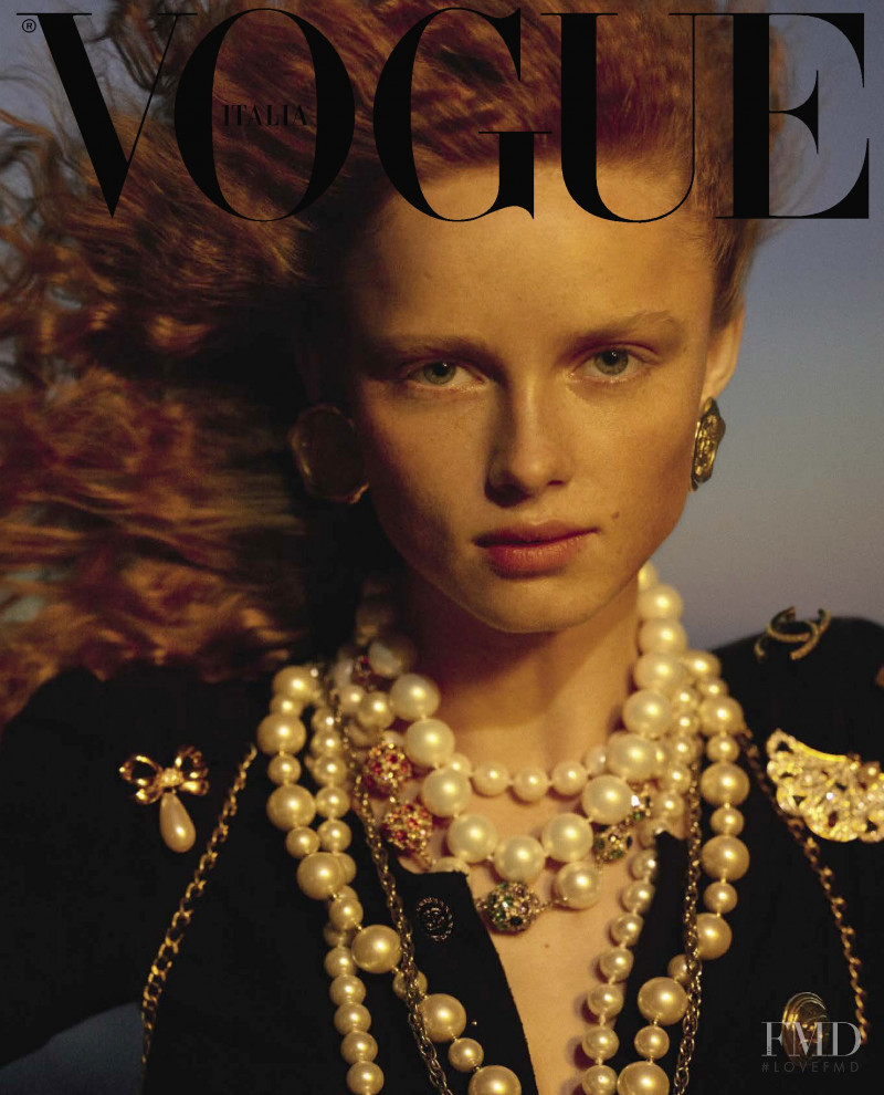 Rianne Van Rompaey featured on the Vogue Italy cover from April 2019