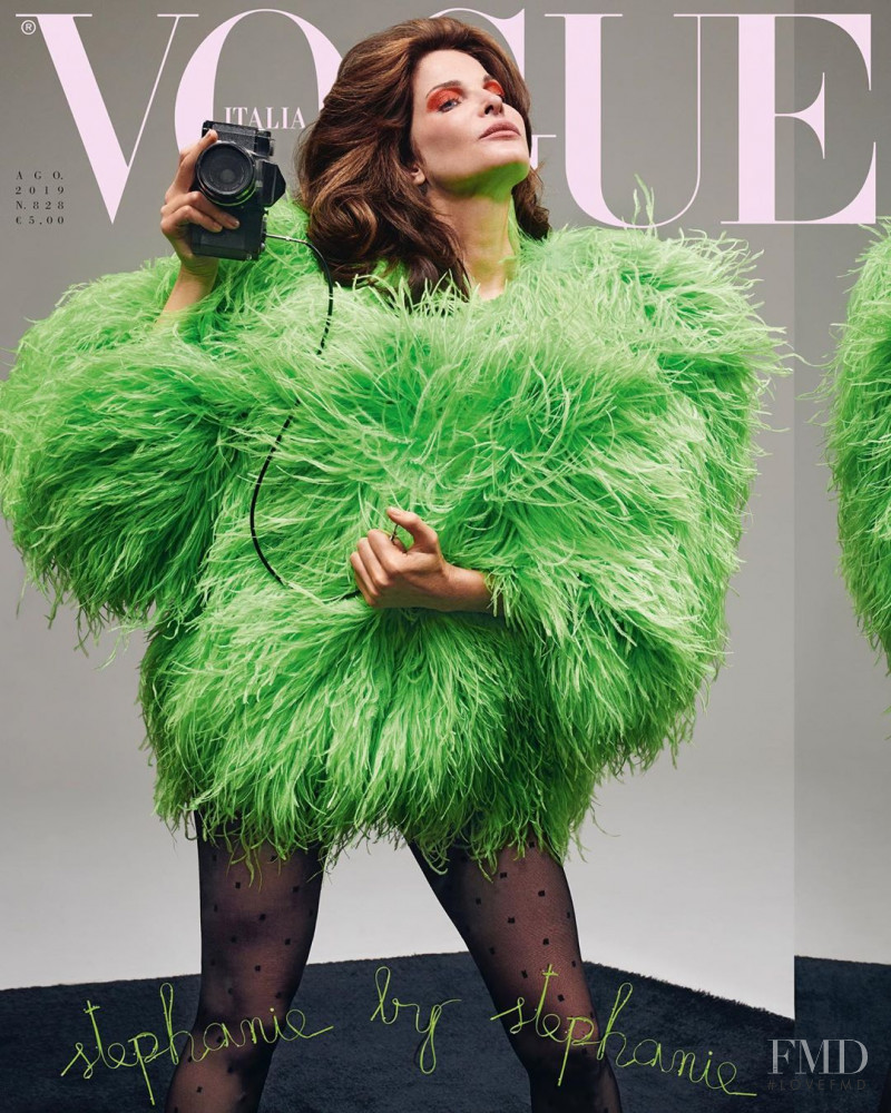Stephanie Seymour featured on the Vogue Italy cover from August 2019