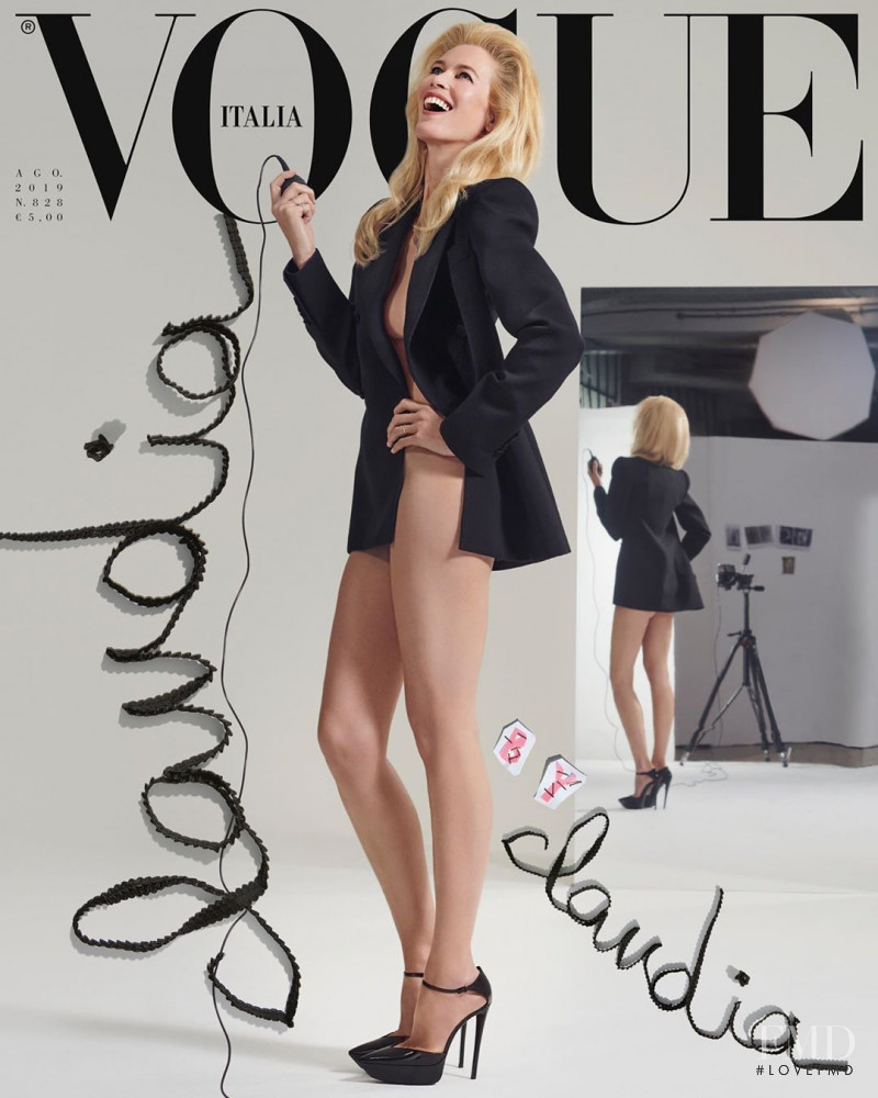 Claudia Schiffer featured on the Vogue Italy cover from August 2019