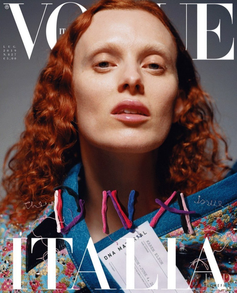 Karen Elson featured on the Vogue Italy cover from July 2019