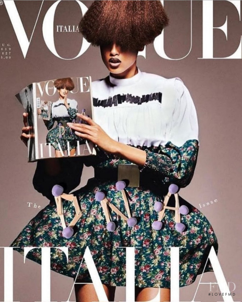 Imaan Hammam featured on the Vogue Italy cover from July 2019
