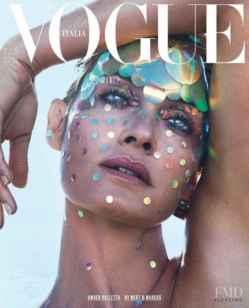 Amber Valletta featured on the Vogue Italy cover from March 2019