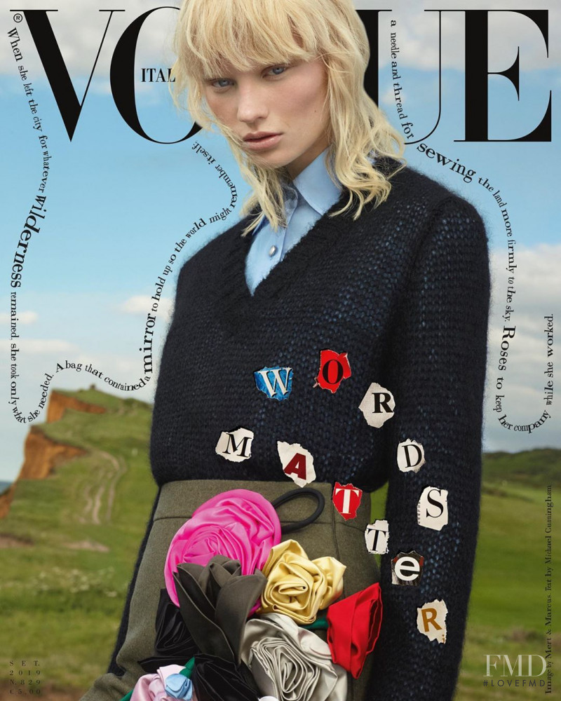 Vilma Sjöberg featured on the Vogue Italy cover from September 2019