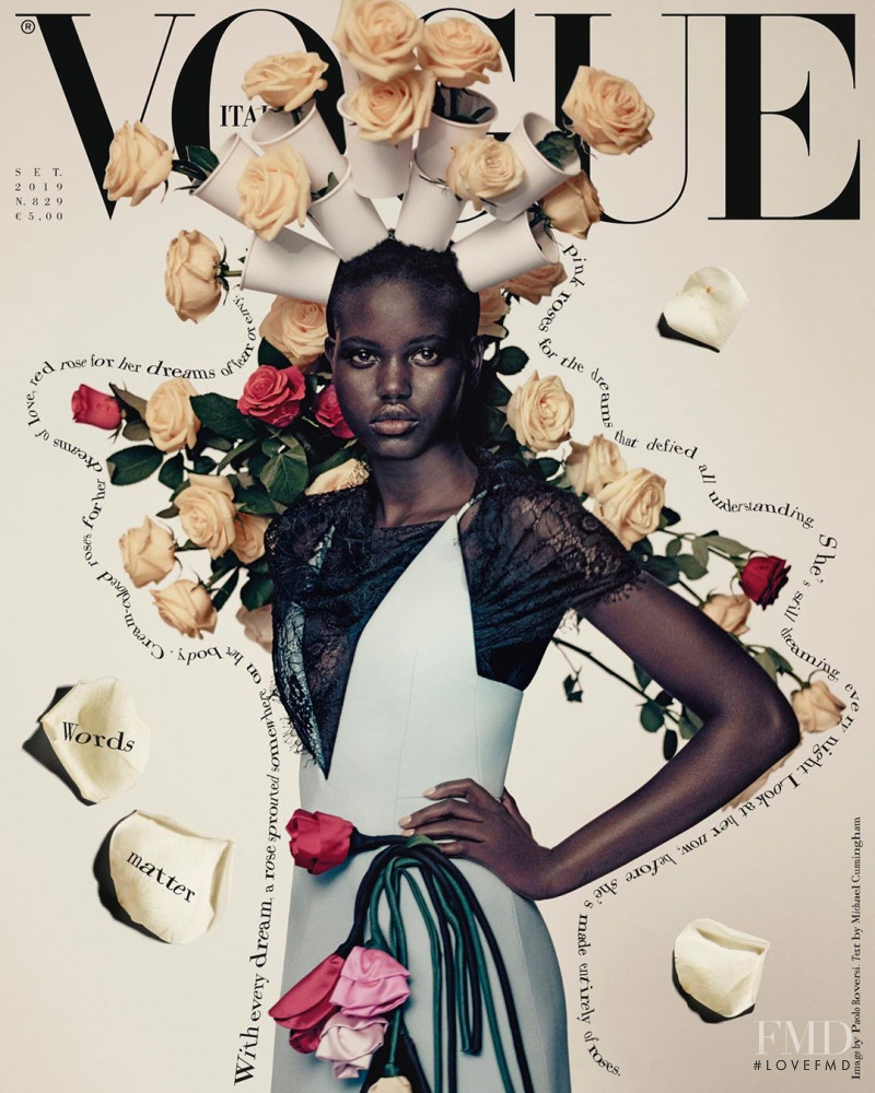 Adut Akech Bior featured on the Vogue Italy cover from September 2019