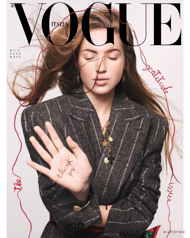 Lila Grace Moss featured on the Vogue Italy cover from December 2020