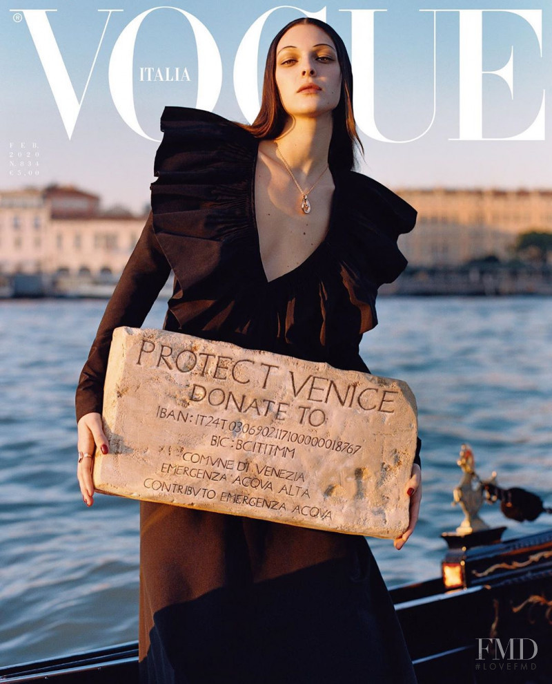 Vittoria Ceretti featured on the Vogue Italy cover from February 2020
