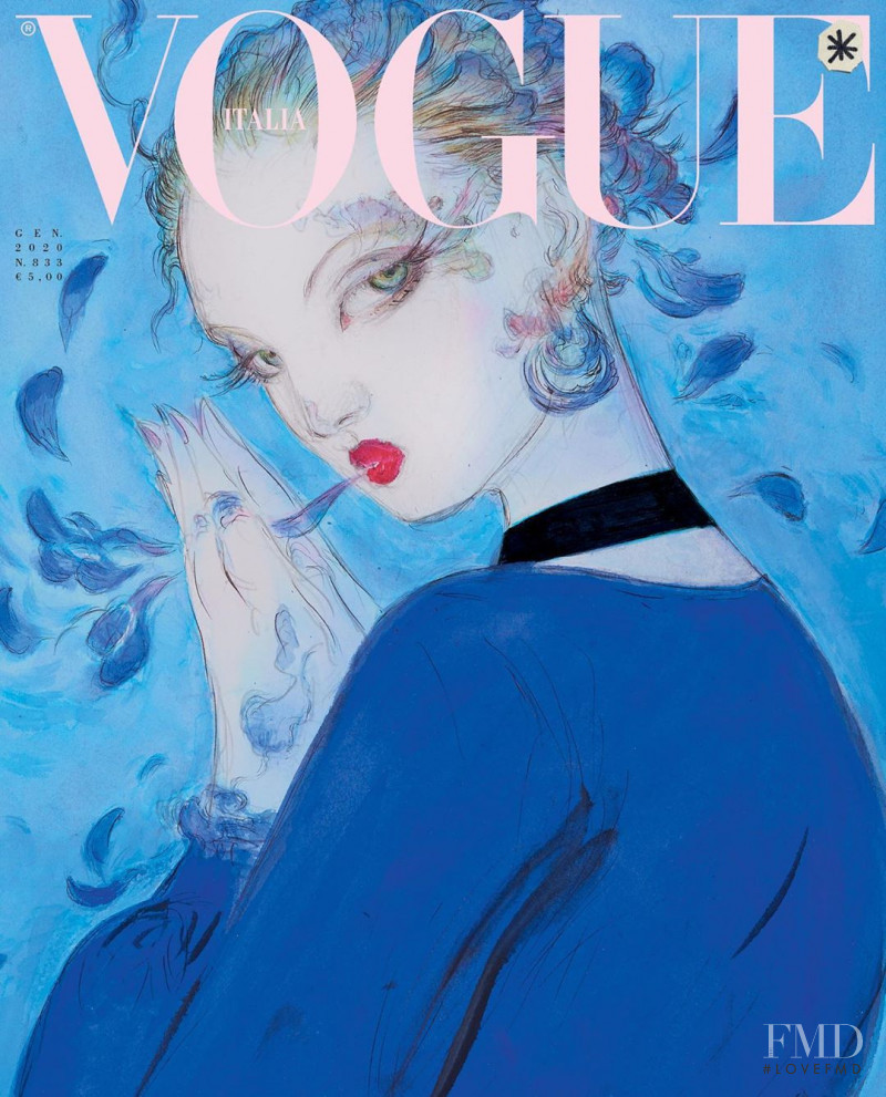 Lindsey Wixson featured on the Vogue Italy cover from January 2020