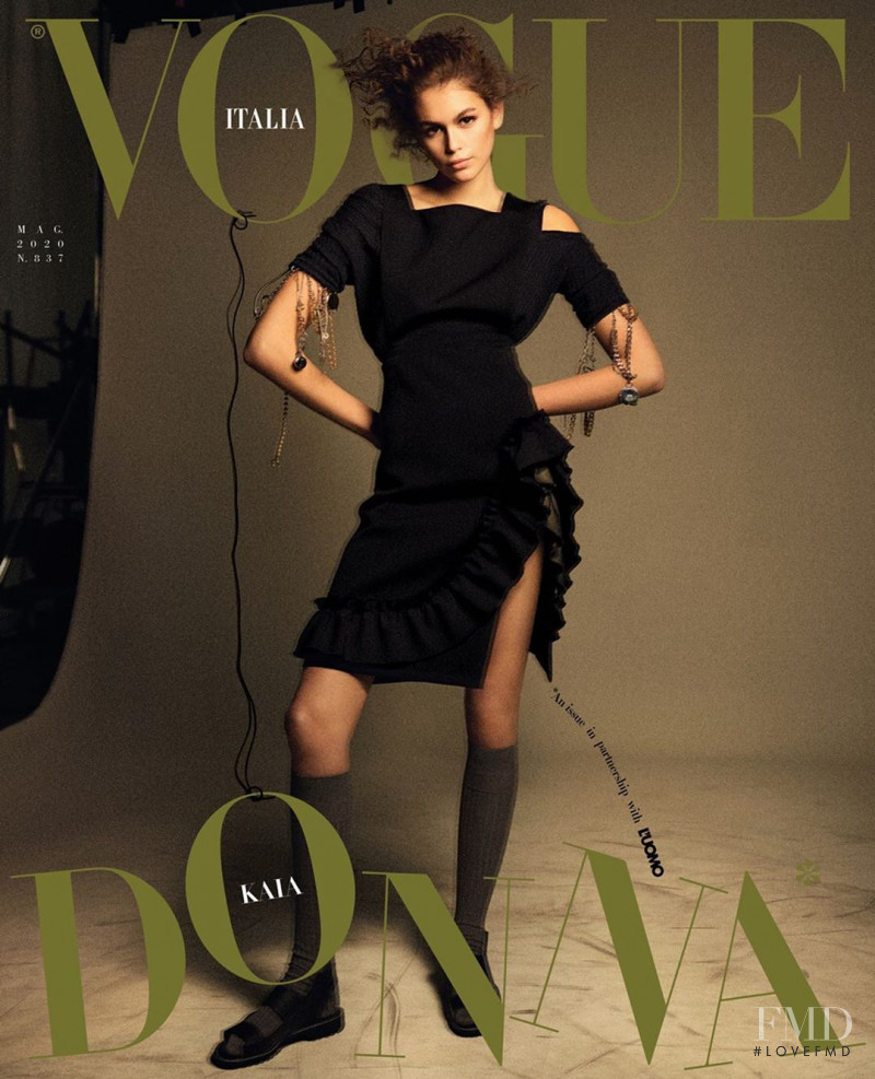 Kaia Gerber featured on the Vogue Italy cover from May 2020
