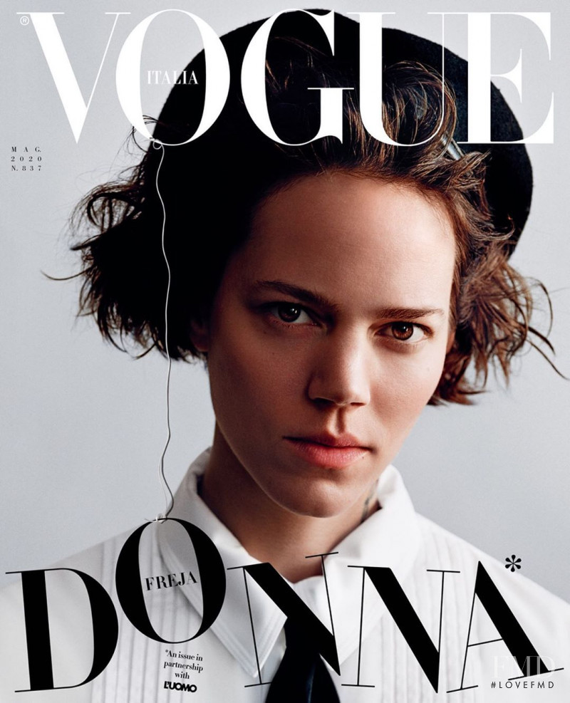 Freja Beha Erichsen featured on the Vogue Italy cover from May 2020