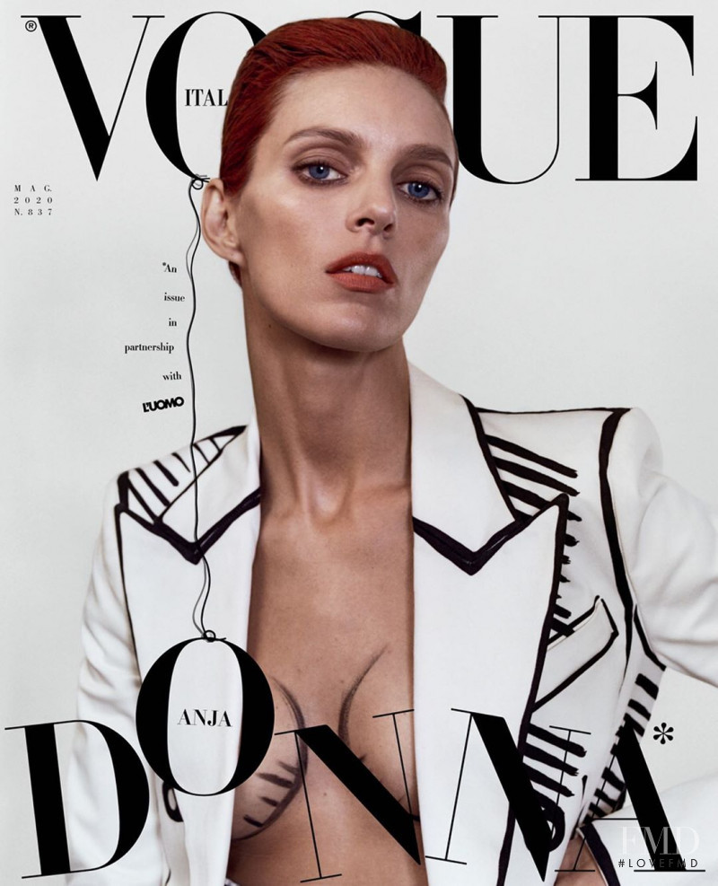 Anja Rubik featured on the Vogue Italy cover from May 2020