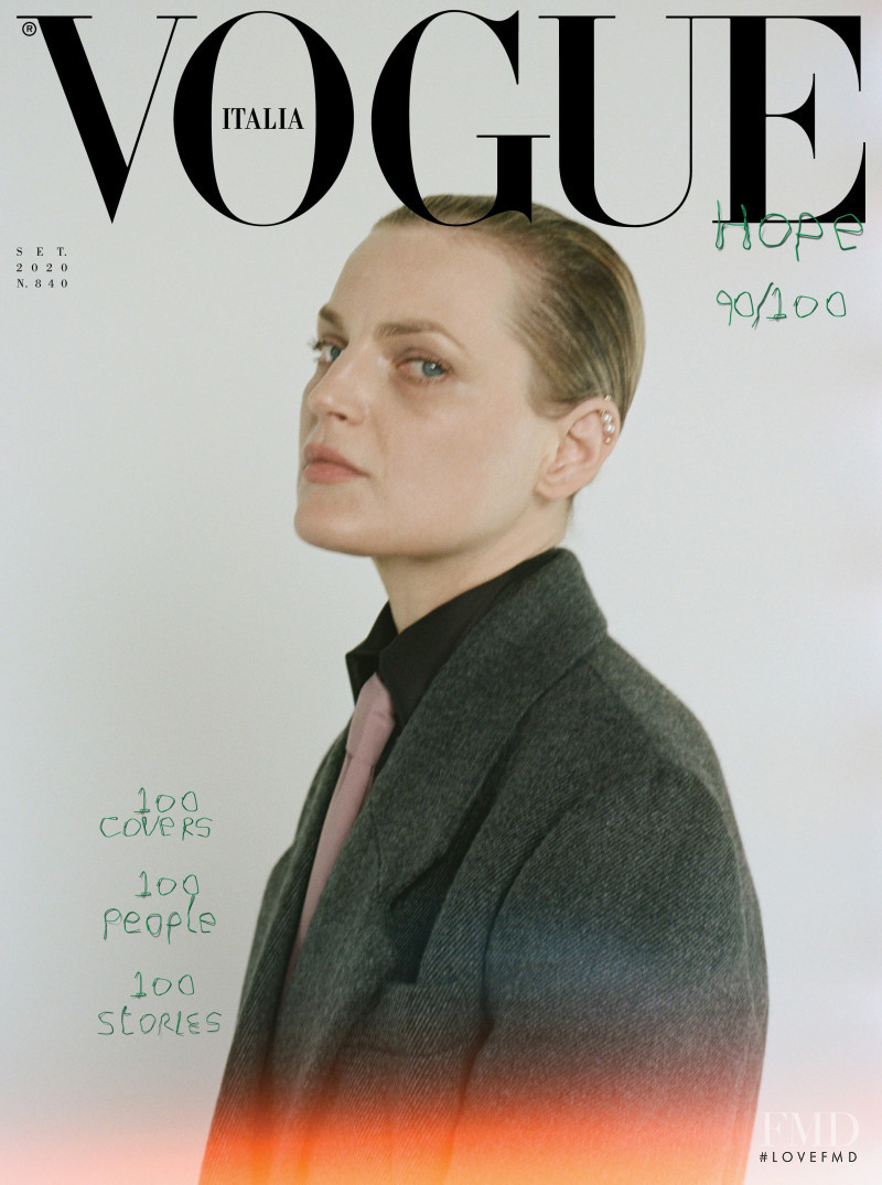 Guinevere van Seenus featured on the Vogue Italy cover from September 2020