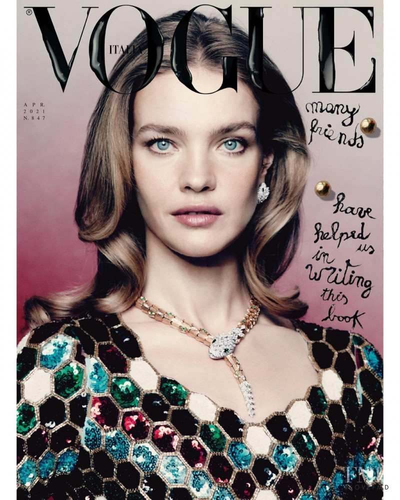 Natalia Vodianova featured on the Vogue Italy cover from April 2021