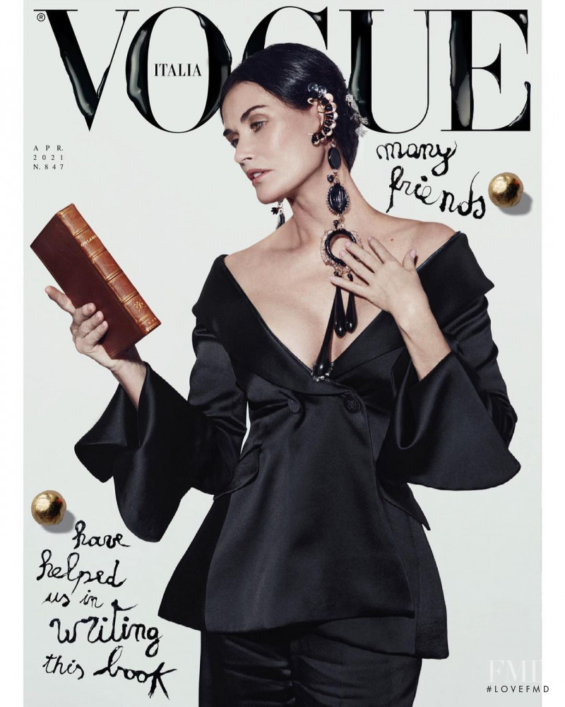 Demi Moore  featured on the Vogue Italy cover from April 2021