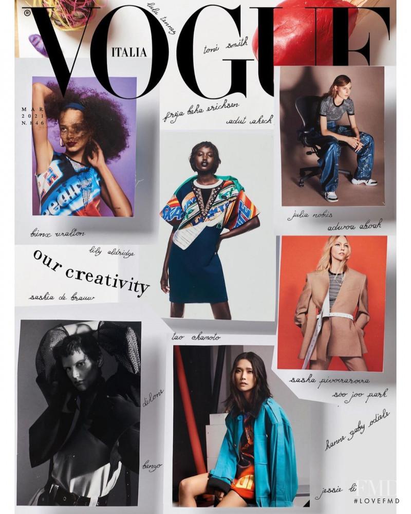 Sasha Pivovarova, Tao Okamoto, Julia Nobis, Binx Walton, Adut Akech Bior featured on the Vogue Italy cover from March 2021
