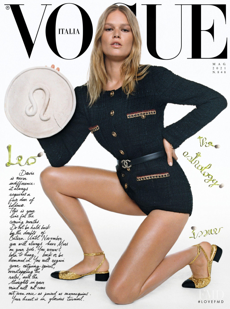 Anna Ewers featured on the Vogue Italy cover from May 2021