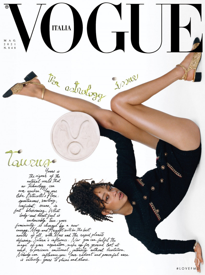 Selena Forrest featured on the Vogue Italy cover from May 2021
