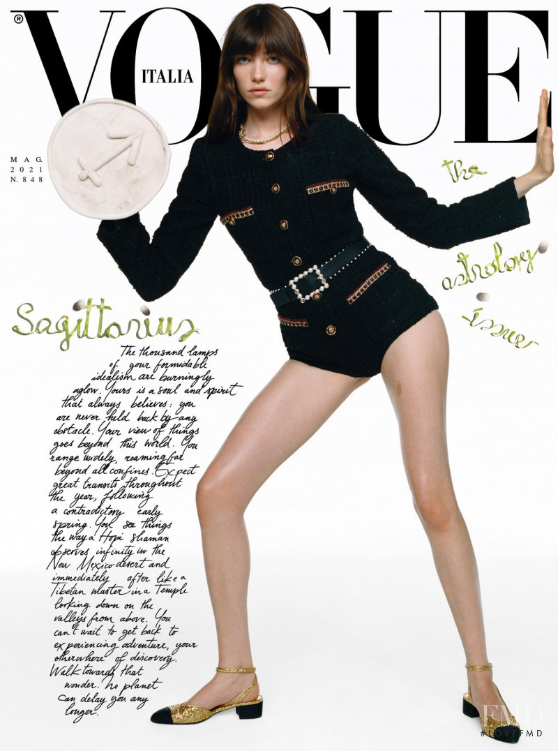Grace Hartzel featured on the Vogue Italy cover from May 2021