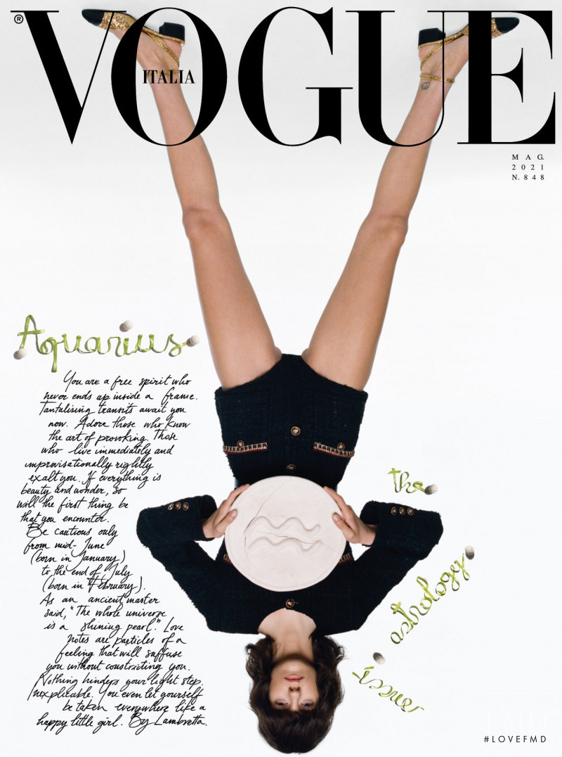 Miriam Sanchez featured on the Vogue Italy cover from May 2021