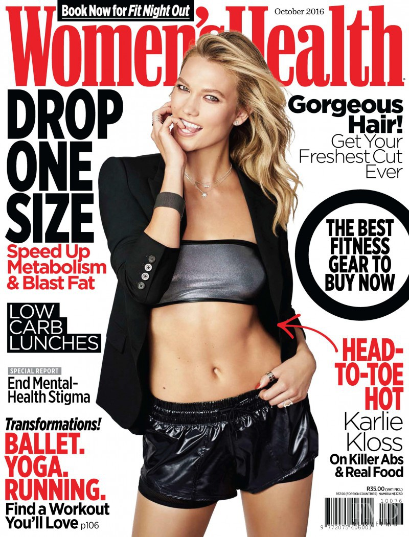 Karlie Kloss featured on the Women\'s Health South Africa cover from October 2016
