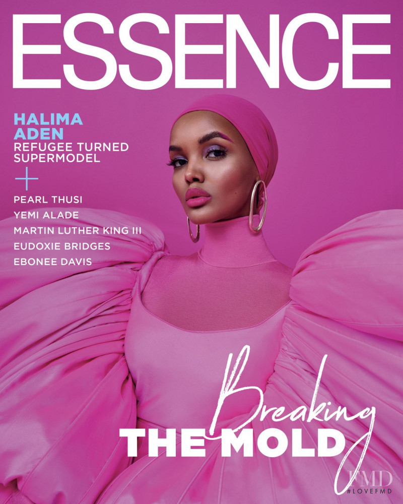 Halima Aden featured on the Essence cover from January 2020