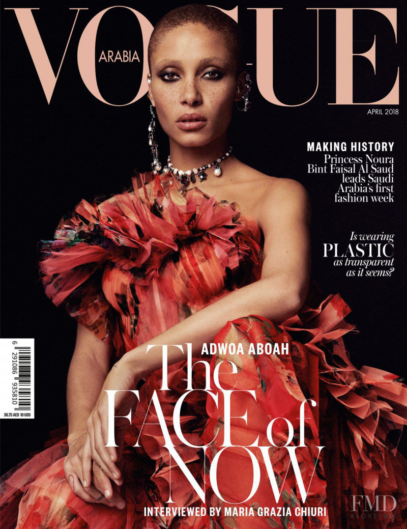 Adwoa Aboah featured on the Vogue Arabia cover from April 2018