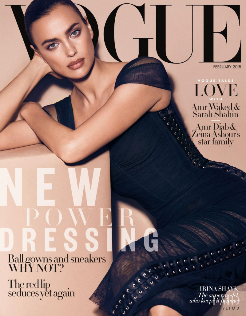 Irina Shayk featured on the Vogue Arabia cover from February 2018