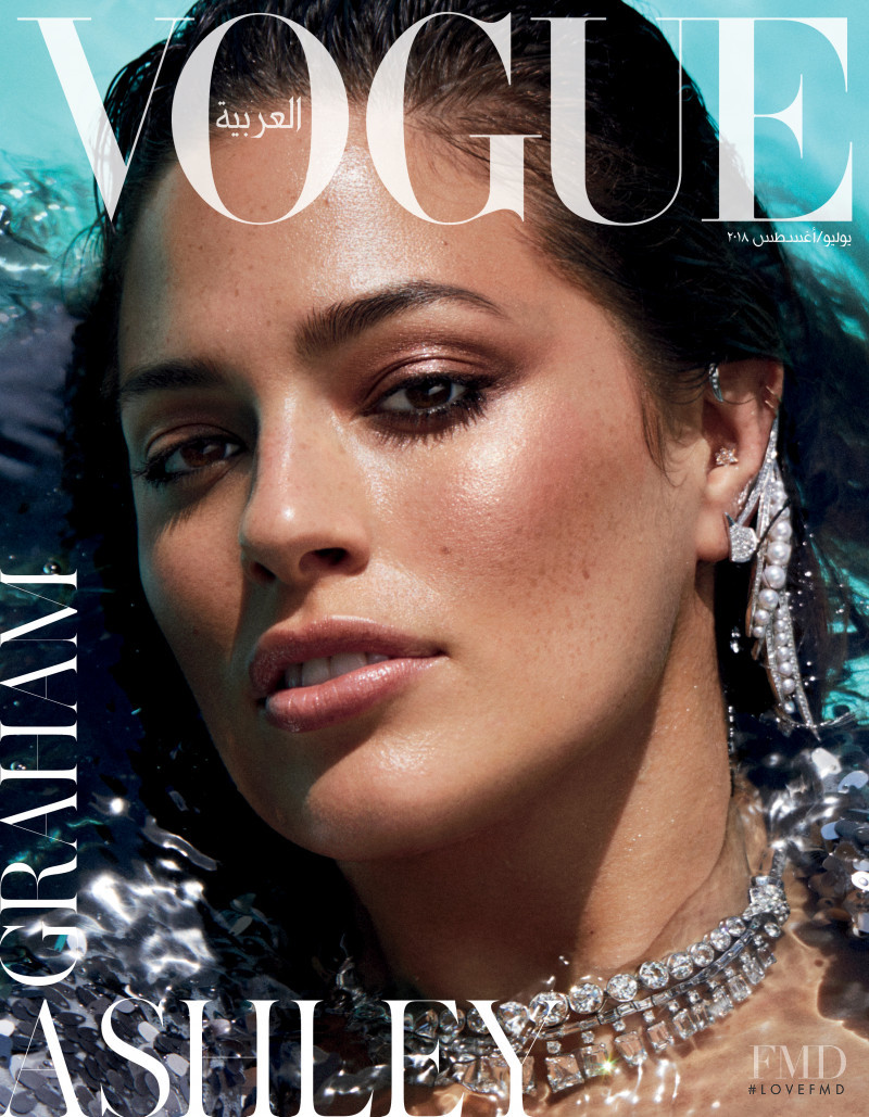Ashley Graham featured on the Vogue Arabia cover from July 2018