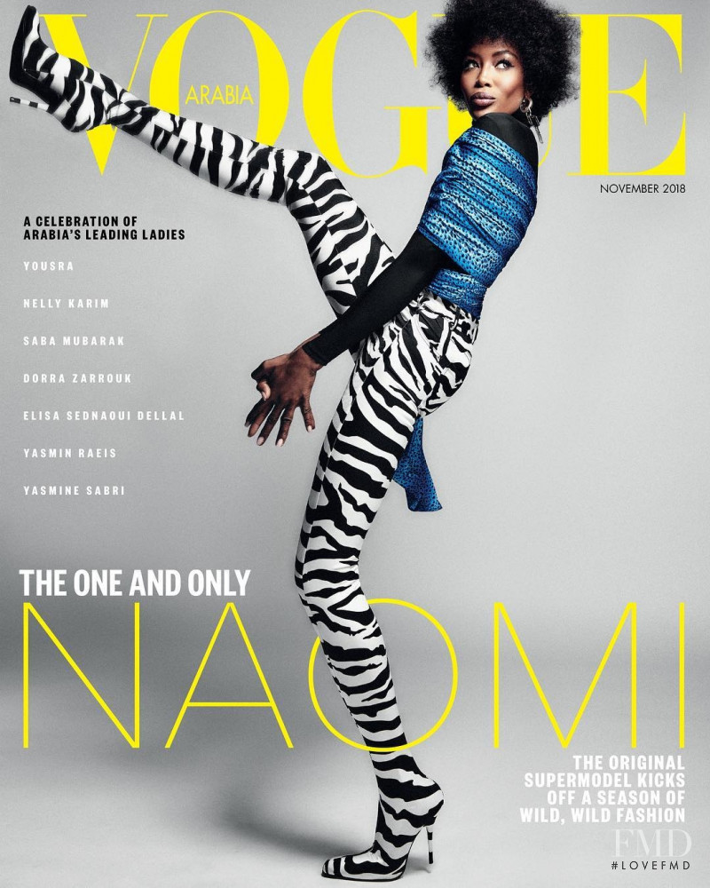 Naomi Campbell featured on the Vogue Arabia cover from November 2018
