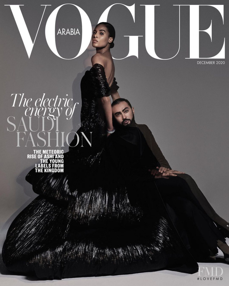 Cindy Bruna featured on the Vogue Arabia cover from December 2020