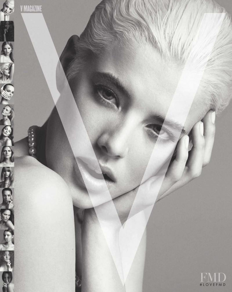 Agyness Deyn featured on the V Magazine cover from September 2008